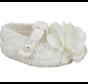 Crochet Bootie w/ Satin Bow & Pearl Girl Baptism Shoe