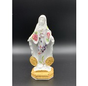 """6"""" OL of Grace Miraculous Medal Resin Statue Decorated with Flowers"""