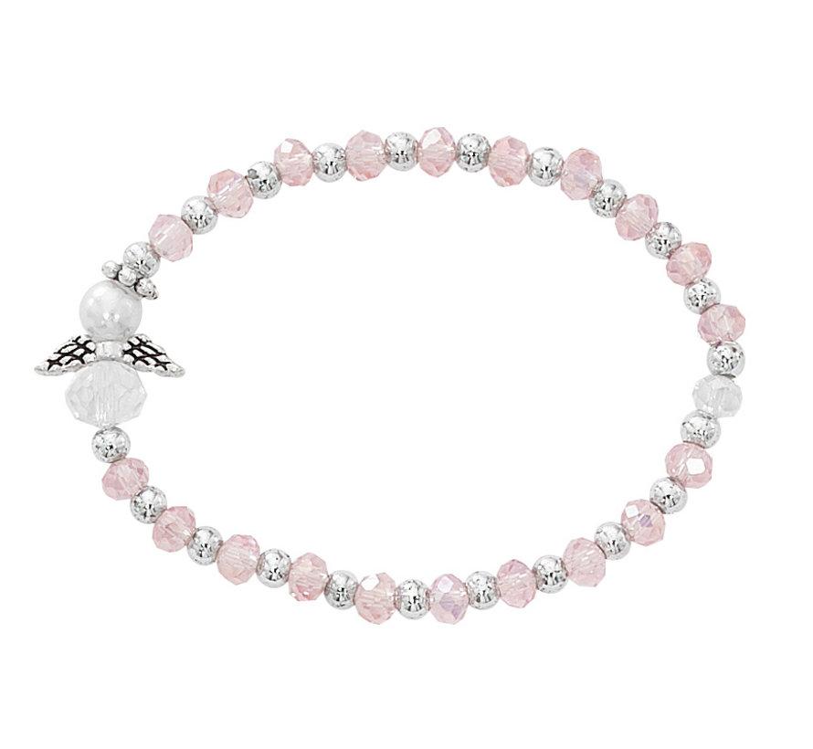 Baby Pink Crystal Angel Stretch Bracelet