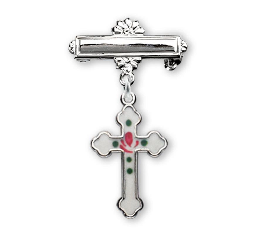 Sterling Silver Small Enameled Cross w/ Bar Pin