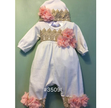 Onesie Changing Outfit with Gold & Pink Flower (Matching Headband)