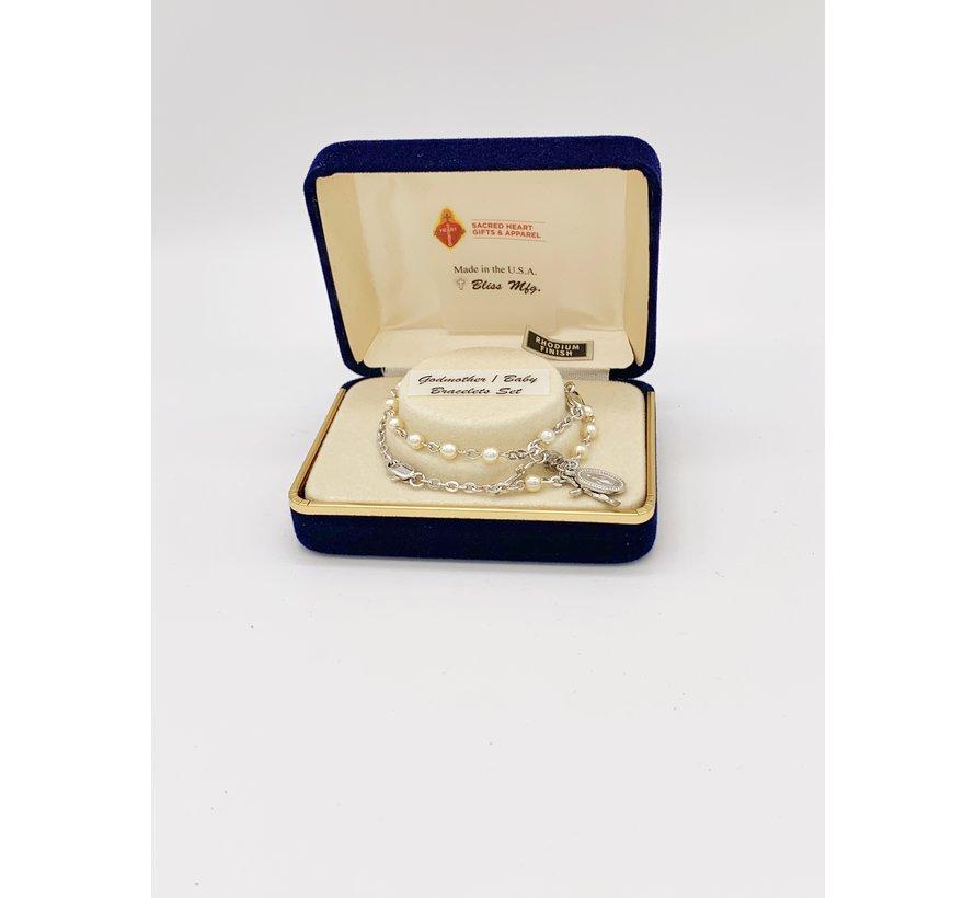 4mm Rosary Bracelet Godmother/Goddaughter Set