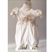 Onesie Outfit w/ Gold Flowers (Matching Headband)