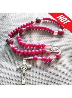 Sacred Heart Gifts & Apparel Pink Benedict Wood Rosary