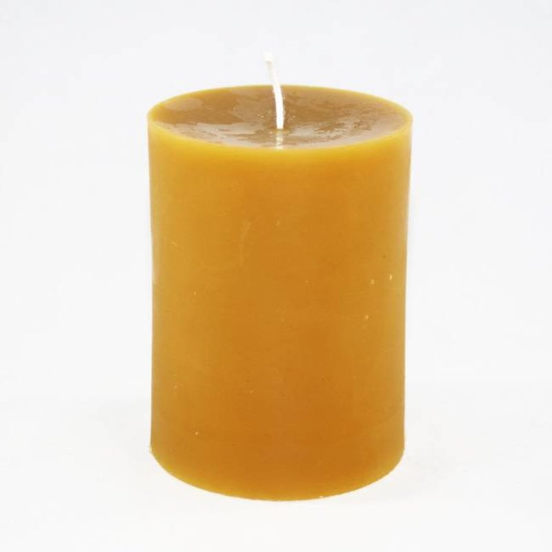 """Bee Well Cylinder Plain 3""""x3"""" Beeswax  Candle"""