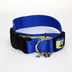 Dog Collar w/Bees Blue Small