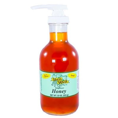 Bee Well Honey 22oz Wildflower Honey Stout bottle with pump