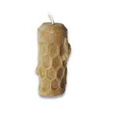 Bee Well Small Cylinder  Honeycomb Beeswax Candle