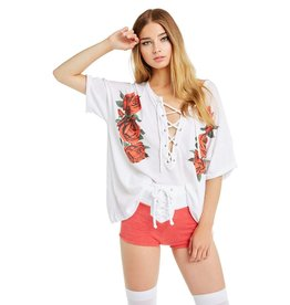 wildfox wildfox tee with rose print with lace up neck