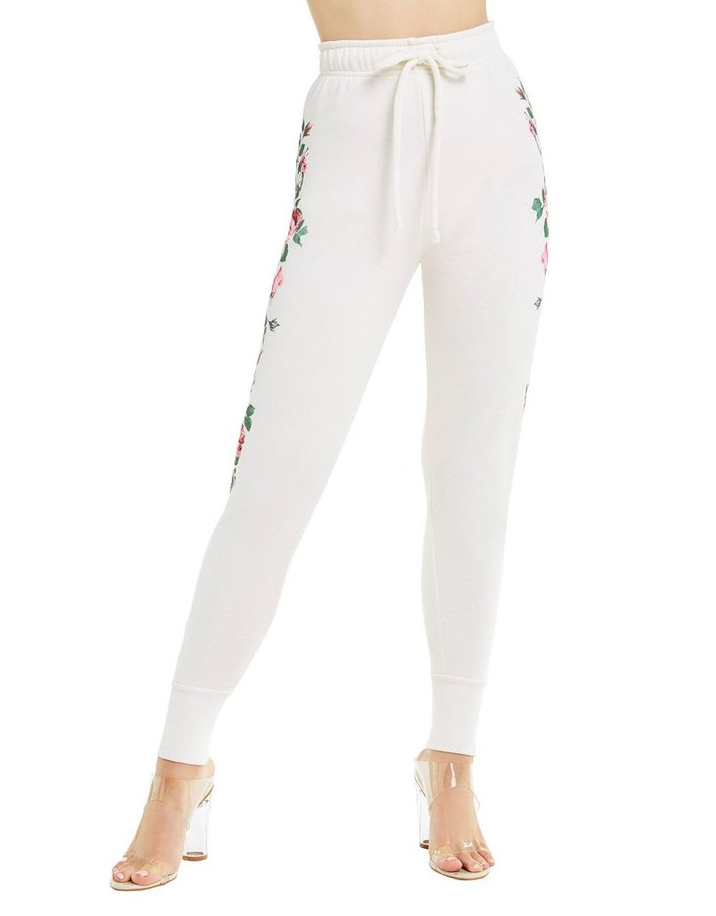 wildfox wildfox jogger sweatpant with rosy stems