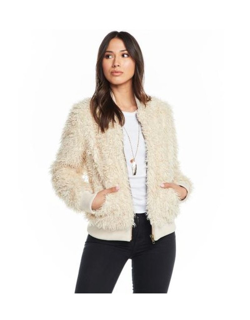 chaser chaser faux lamby bomber jacket