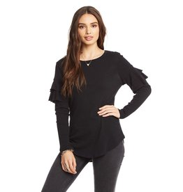 chaser chaser l/s ruffle tee