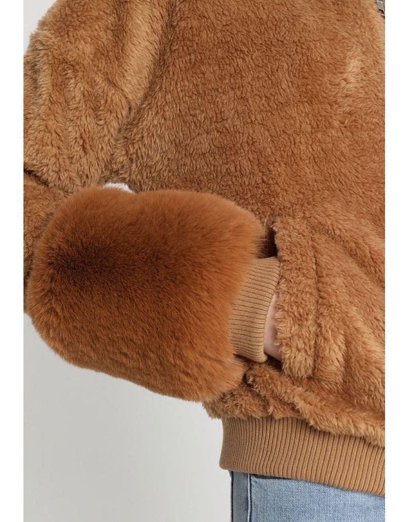 flight lux honey punch fur cuff all over fur bomber