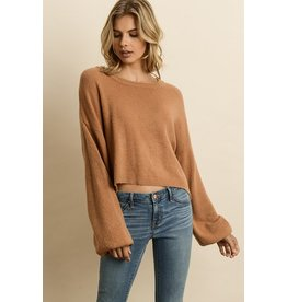 flight lux soft bubble sleeve sweater
