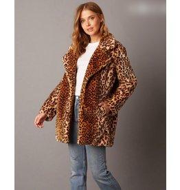 cotton candy leopard print faux fur jacket
