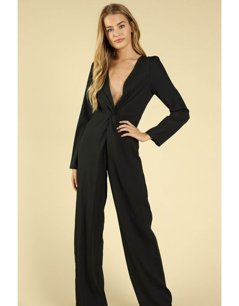 flight lux long sleeve v neck jumpsuit