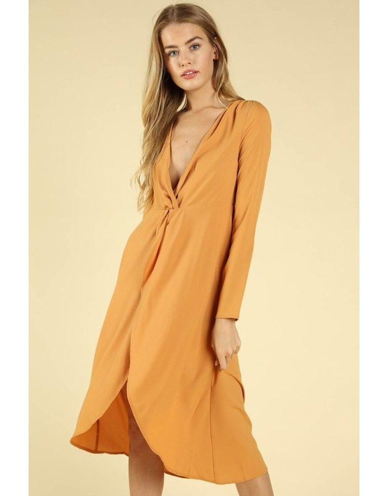 flight lux v neck long sleeve midi dress