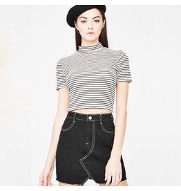flight lux black denim skirt with white contrast stitch