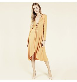 flight lux v neck long sleeve midi dress
