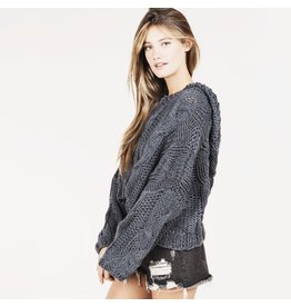 flight lux pol cable knit pullover with hood