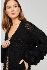 hayden knit pom pom sleeve cardigan