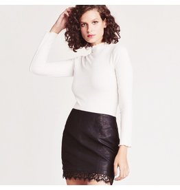 jack jack faux leather mini skirt with lace bottom