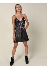 line & dot line & dot luster mini slip dress