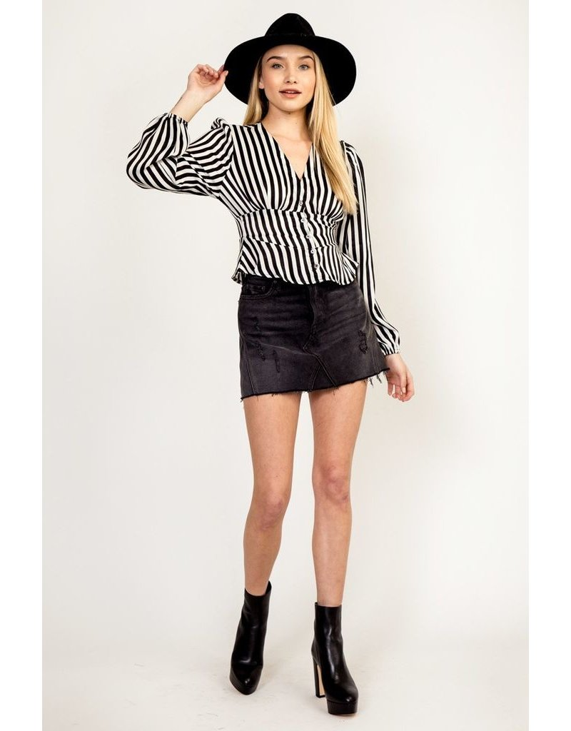 olivaceous striped button up blouse