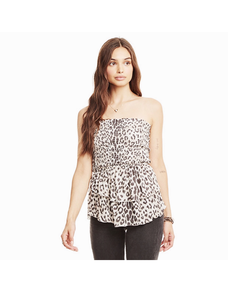 chaser chaser tiered peplum smocked top