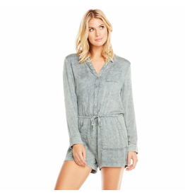 chaser chaser woven l/s snap front collared romper