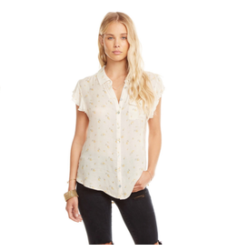 chaser chaser flutter sleeve button down shirt