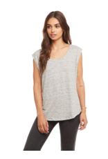 chaser chaser linen jersey cap sleeve tee