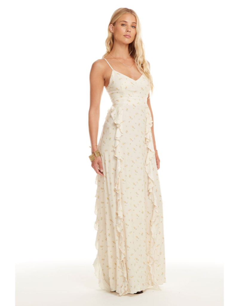 chaser chaser woven lace-up back ruffle maxi dress