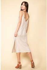 flight lux grade & gather midi dress open back with double slit