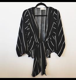 rd style stripe tie-front crop kimono