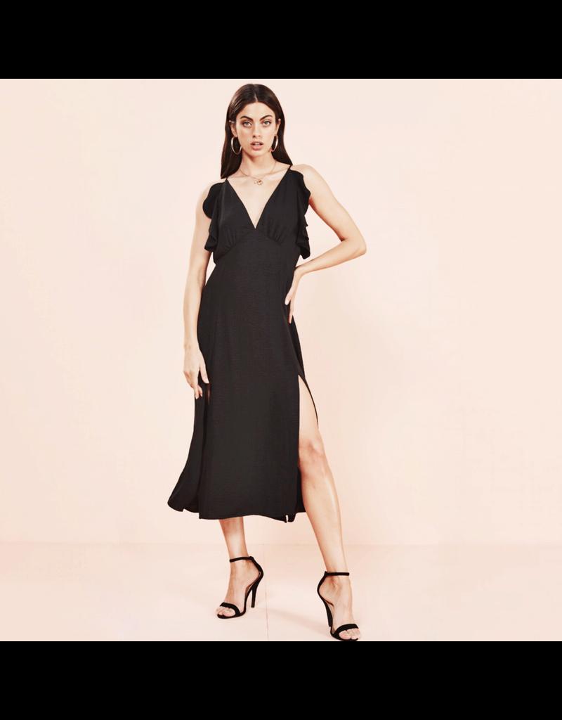 MinkPink minkpink halter maxi dress with ruffle top