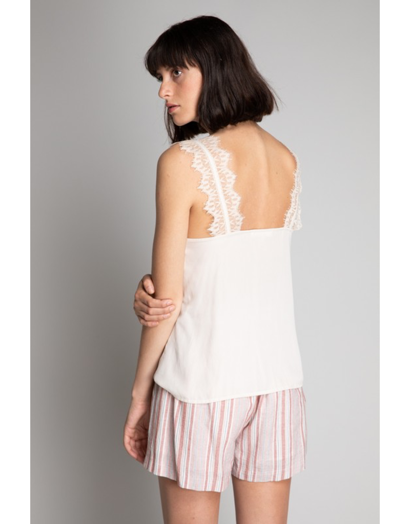 flight lux grade & gather cami with lace trim