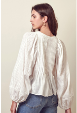 flight lux storia puff sleeve button down top