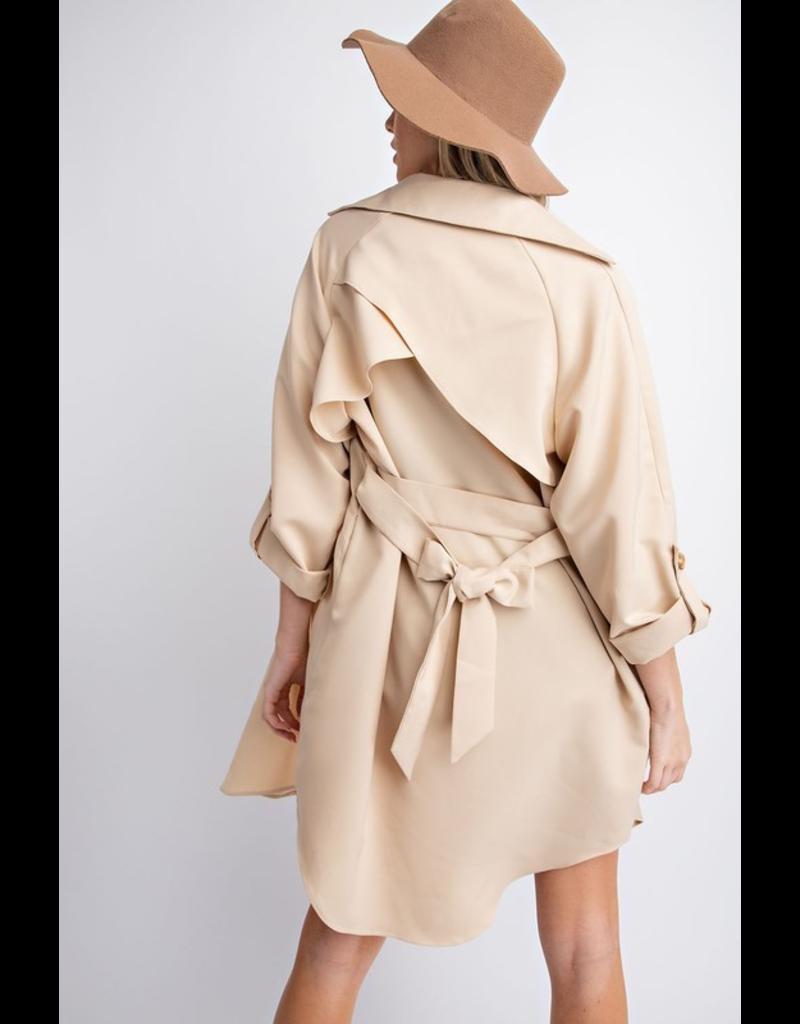 flight lux davi & dani double breasted trench coat