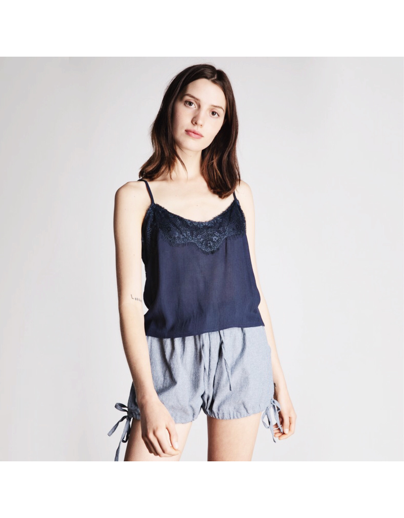 flight lux grade & gather lace trim cami