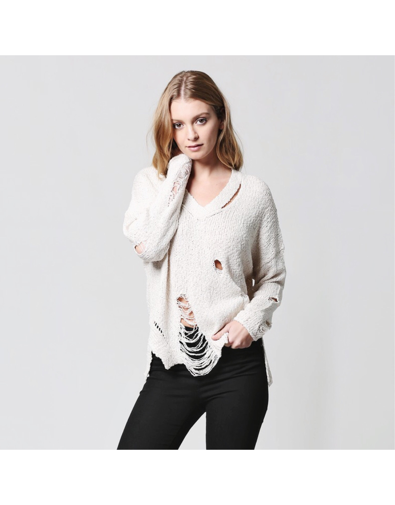 flight lux fate v neck distressed sweater
