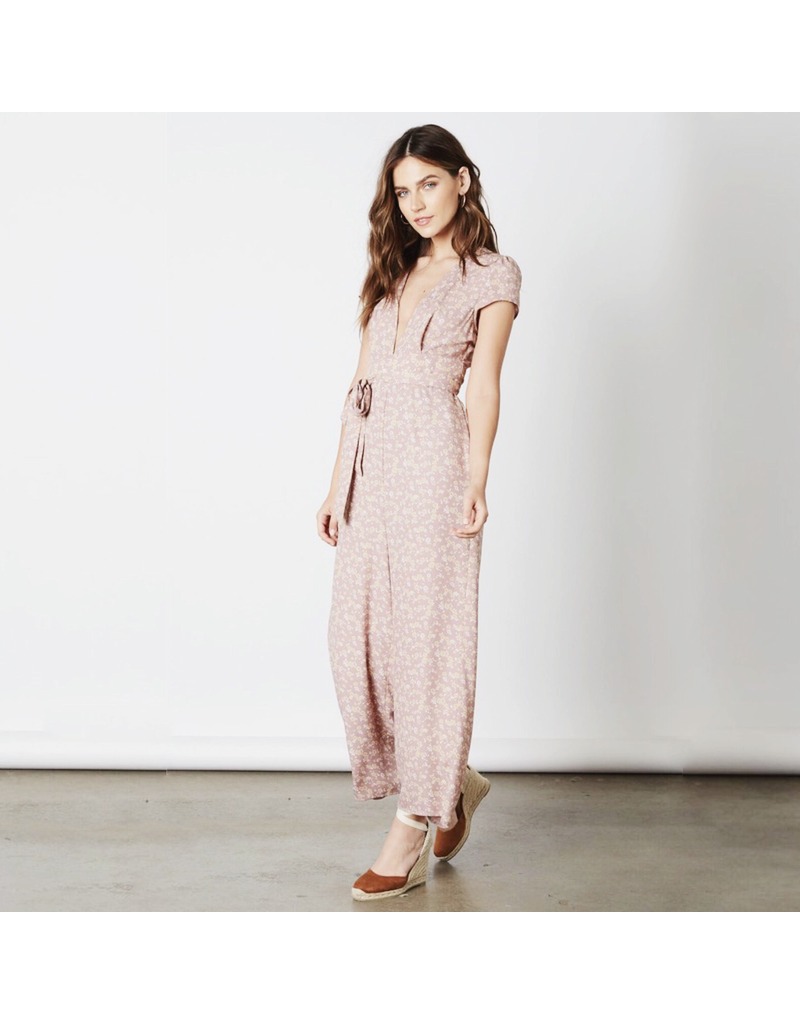 cotton candy jumpsuit with puff sleeves