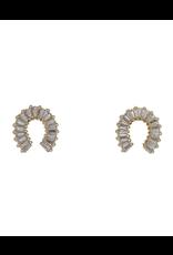 flight lux emerald cut CZ horseshoe shape earrings