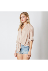 cotton candy button up tie front blouse