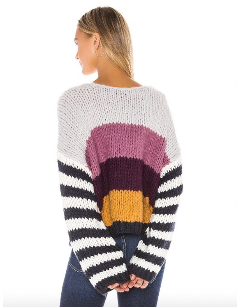 blank nyc blank nyc sweater with stripe sleeve and colorblocking