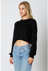 cotton candy balloon sleeve cropped sweater