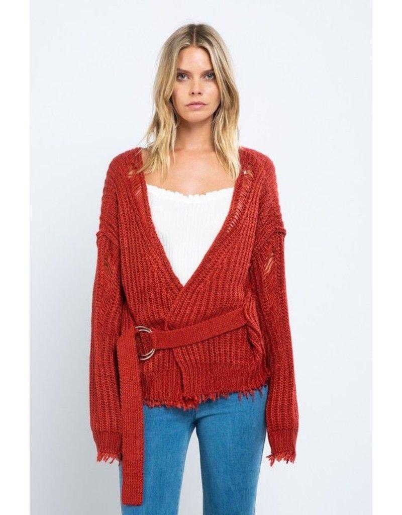 flight lux skylar madison belt on sweater cardigan
