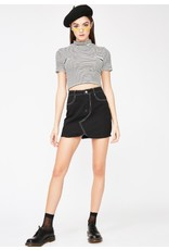 flight lux black denim skirt with white contrast stitch