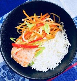 Saumon poché à l'asiatique