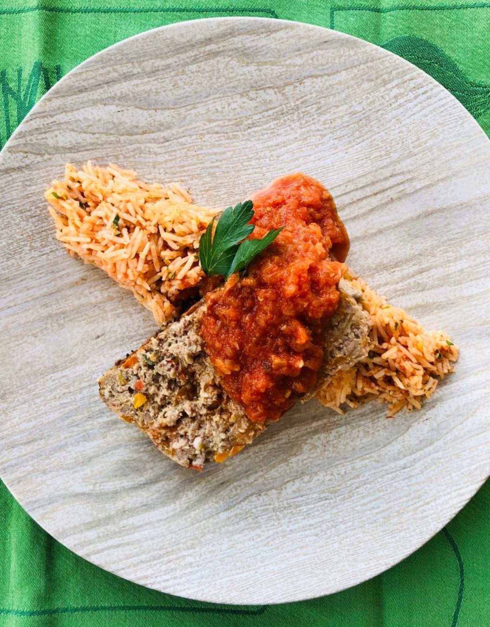 Pain de viande sur riz au fenouil